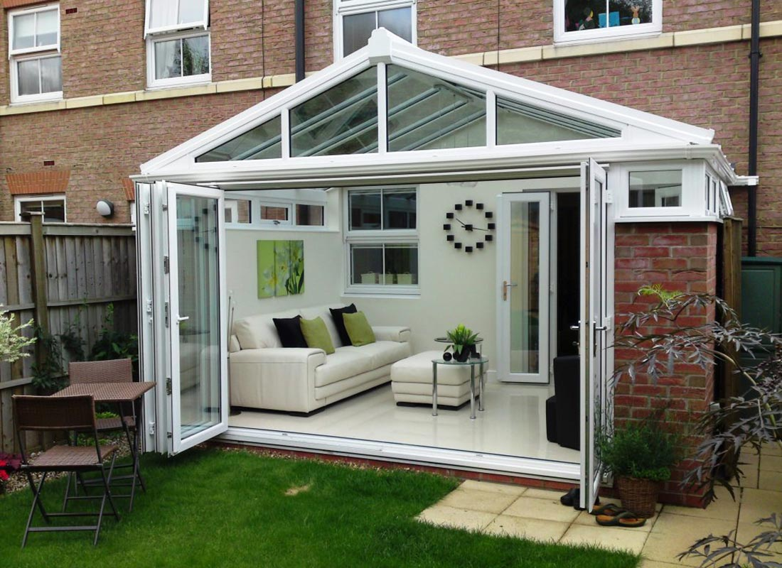 Conservatory with bifolding doors