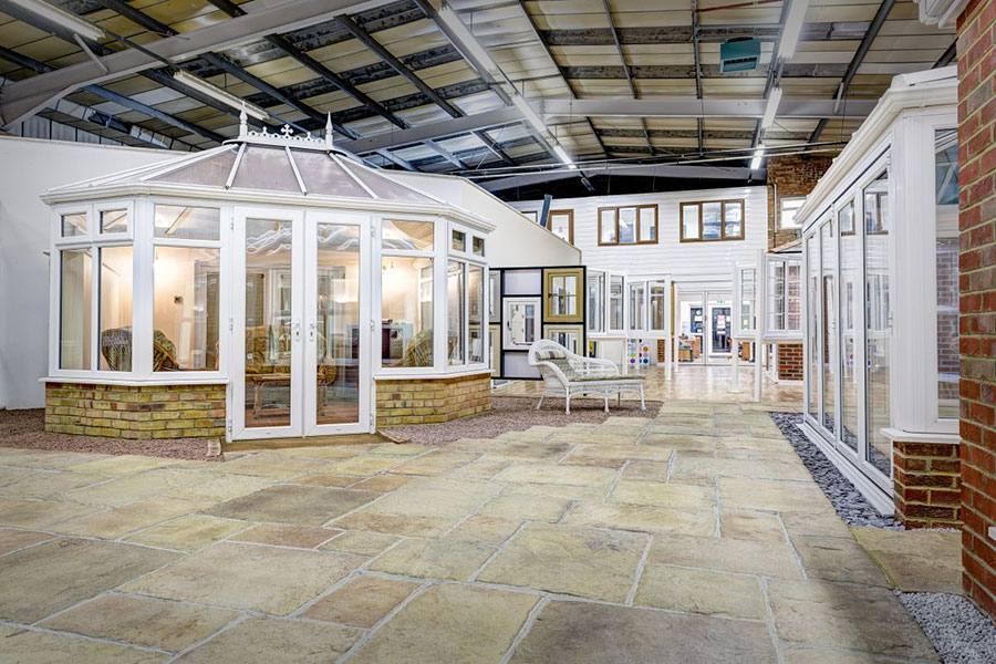 wide shot of conservatory showroom