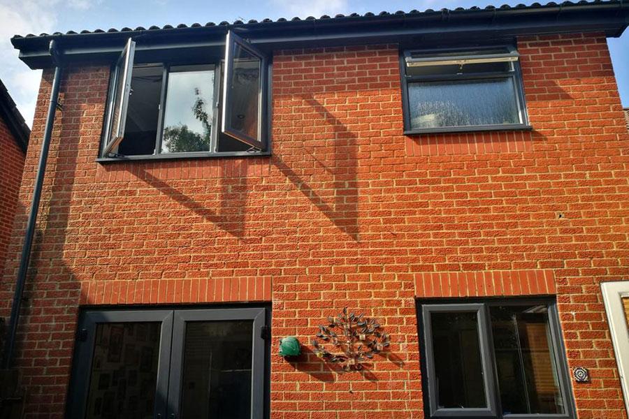 anthracite grey window installation in Basingstoke