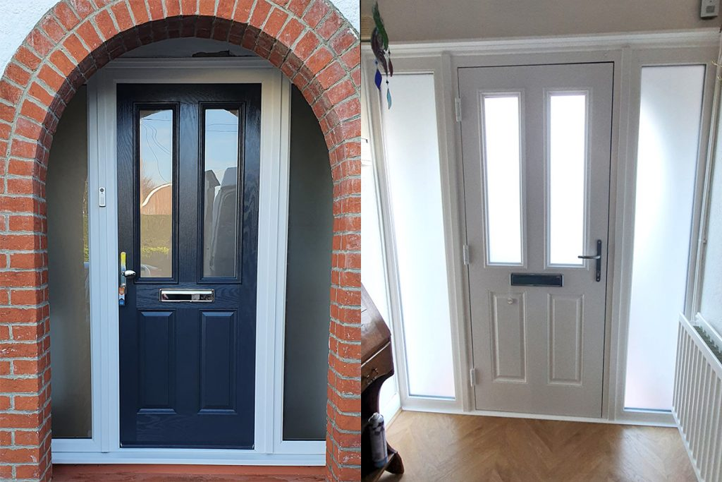 Composite Door Blue / White with side panels